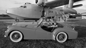 Triumph TR3 with Airplane and grandkids