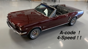 1965 Mustang convertible A-code Vintage Burgundy 289 4-speed GT exhaust-1