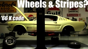 1966 K code Mustang wheels and stripes