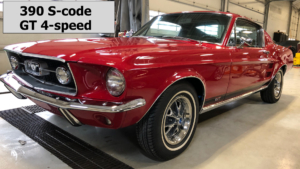1967 Mustang S code 4 speed Red Fastback