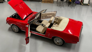 1968 Mustang convertible Red with Parchment interior