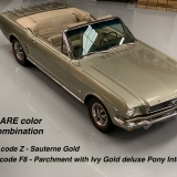 1966 Mustang convertible Sauterne Gold 289 Pony interior Concours -3