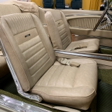 1966 Mustang convertible Sauterne Gold 289 Pony interior Concours -46