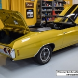 1971 Chevelle SS 454 HO Convertible Placer Gold in garage