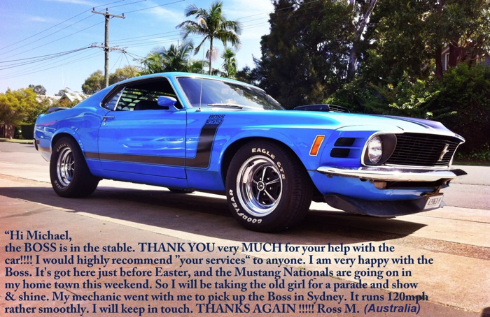 classic car services - 1970 Mustang Boss 302 Grabber Blue