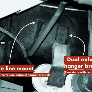 identify real GT Mustang exhaust hangar and brake line